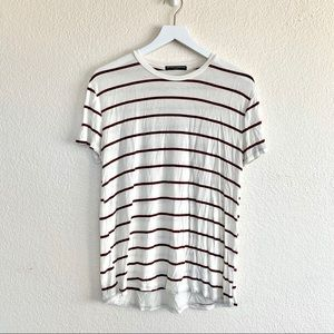 Brandy Melville White Red Striped T-shirt